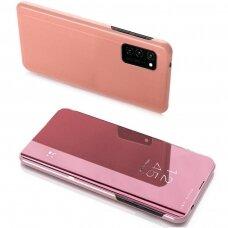 Atverčiamas Dėklas Permatomu-Veidrodiniu Dangteliu 'Clear View' Samsung Galaxy Note 20 Rožinis