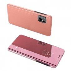 """Atverčiamas Plastikinis Dėklas Permatomu-Veidrodiniu Viršeliu """"Sview"""" Samsung Galaxy S20 Rožinis"""