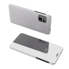 """Atverčiamas Plastikinis Dėklas Permatomu-Veidrodiniu Viršeliu """"Sview"""" Samsung Galaxy S20 Plus Sidabrinis"""