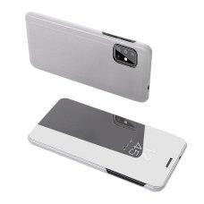 """Atverčiamas Plastikinis Dėklas Permatomu-Veidrodiniu Viršeliu """"Sview"""" Samsung Galaxy S20 Sidabrinis"""