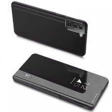 Clear View Case atverčiamas dėklas Samsung Galaxy S21+ 5G (S21 Plus 5G) juodas