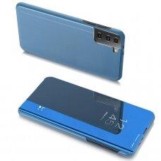 Atverčiamas dėklas Clear View Case Samsung Galaxy S21+ 5G (S21 Plus 5G) mėlynas