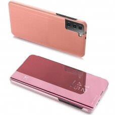 Clear View Case atverčiamas dėklas Samsung Galaxy S21 Ultra 5G rožinis