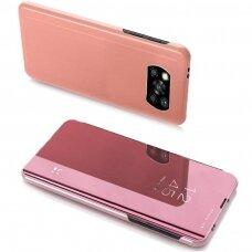 Atverčiamas dėklas Clear View Case Cover For Xiaomi Poco X3 Nfc Rožinis