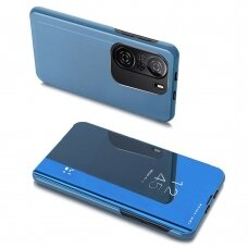 Atverčiamas dėklas Clear View Case cover for Xiaomi Redmi K40 Pro+ / K40 Pro / K40 / Poco F3 Mėlynas
