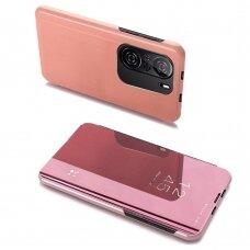 Atverčiamas dėklas Clear View Case cover for Xiaomi Redmi K40 Pro+ / K40 Pro / K40 / Poco F3 Rožinis