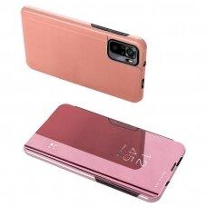 Atverčiamas dėklas Clear View Case cover for Xiaomi Redmi Note 10 Pro Rožinis