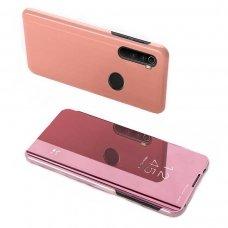 """Atverčiamas Plastikinis Dėklas Permatomu-Veidrodiniu Viršeliu """"Sview"""" Xiaomi Redmi Note 8T Rožinis"""
