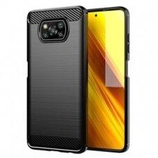 Dėklas Carbon Case Flexible Cover TPU Case for Xiaomi Poco X3 NFC Juodas