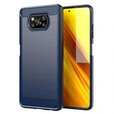 Dėklas Carbon Case Flexible Cover TPU Xiaomi Poco X3 NFC Tamsiai mėlynas