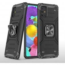 Dėklas Wozinsky Ring Armor Case Kickstand Tough Rugged Samsung Galaxy A02s Juodas