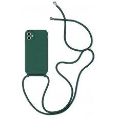 Dėklas Strap Silicone Case Apple iPhone 12 Pro Max tamsiai žalias
