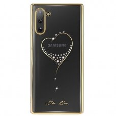 """DĖKLAS SU TIKRAIS SWAROVSKI KRISTALAIS """"Kingxbar Wish Series"""" Samsung Galaxy Note 10 auksinis UCS021"""