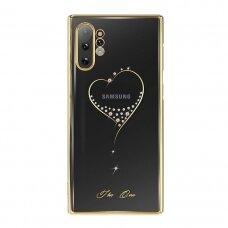 """DĖKLAS SU TIKRAIS SWAROVSKI KRISTALAIS """"Kingxbar Wish Series"""" Samsung Galaxy Note 10 Plus auksinis UCS019"""