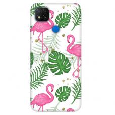 "Dėklas Unikaliu Dizainu ""U-Case Airskin Flamingos Design"" 1.0 mm TPU Xiaomi Redmi 9C Telefonui"
