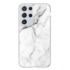 Dėklas Wozinsky Marble TPU  Samsung Galaxy S21 Ultra 5G baltas