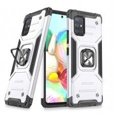Dėklas Wozinsky Ring Armor Case Kickstand Tough Rugged Samsung Galaxy A51 5G Sidabrinis
