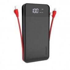 Išorinė Baterija Dudao 2xUSB, 10000mAh, 2A, Lightning / USB Type C/micro USB 3A Juoda (K1A black)
