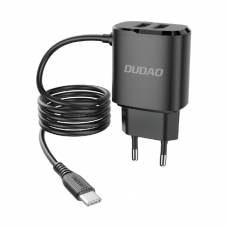 Dudao 2x USB buitinis įkroviklis USB - Type C 12 W kabelis juodas (A2ProT black)