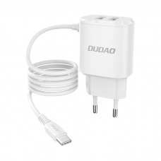 Buitinis įkroviklis Dudao 2x USB wall charger with built-in USB Type C 12 W cable baltas