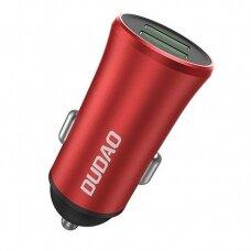 Dudao 3,4A Universalus Automobilinis Įkroviklis 2x USB raudonas (R6S red)