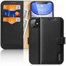 Atverčiamas dėklas Dux Ducis Hivo odinis iPhone 11 Juodas
