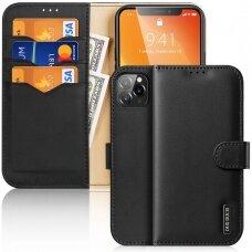Atverčiamas dėklas Dux Ducis Hivo odinis iPhone 11 Pro Juodas