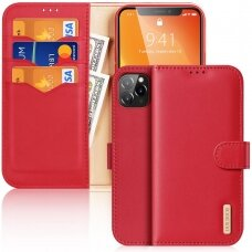 Atverčiamas dėklas Dux Ducis Hivo odinis iPhone 11 Pro Raudonas