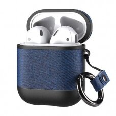 Dux Ducis PU leather case for Apple AirPods 2 / AirPods 1 Earphones mėlynas (ctz220)