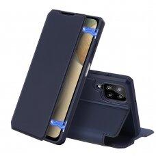 Atverčiamas dėklas DUX DUCIS Skin X Samsung Galaxy A12 Tamsiai mėlynas