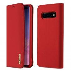 """Natūralios Odos Piniginės Tipo Atverčiamas Dėklas """"Dux Ducis Wish"""" Samsung Galaxy S10 Plus Raudonas"""
