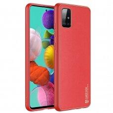 Elegantiškas Dux Ducis Yolo Dėklas Tpu Ir Pu Oda Samsung Galaxy A71 Raudonas