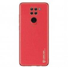 Dėklas Dux Ducis Yolo elegant  TPU ir PU oda Xiaomi Redmi 10X 4G / Xiaomi Redmi Note 9 Raudonas
