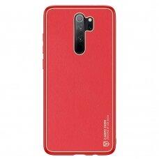 Dėklas Dux Ducis Yolo elegant TPU ir PU oda Xiaomi Redmi Note 8 Pro raudonas