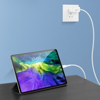 Dux Ducis K-V USB Typ C - USB Typ C Kabelis 60 W 3 A 1 m Greitas Įkrovimas Baltas 12