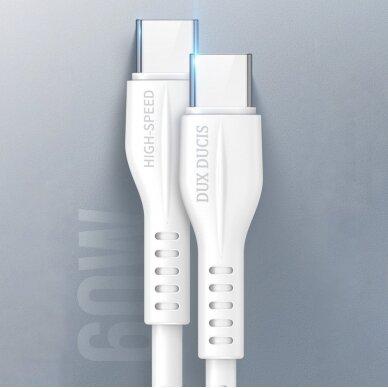 Dux Ducis K-V USB Typ C - USB Typ C Kabelis 60 W 3 A 1 m Greitas Įkrovimas Baltas 15