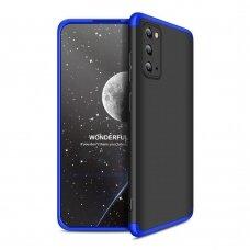"""DVIEJŲ DALIŲ PLASTIKINIS DĖKLAS APSAUGANTIS PRIEKĮ IR GALĄ """"GKK 360"""" Samsung Galaxy S20 juodas-mėlynas (ctz003) UCS003"""