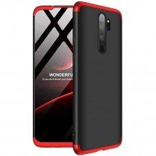 """Dvipusis Apsauginis Dėklas """"Gkk 360 Protection"""" Pc Plastikas Xiaomi Redmi Note 8 Pro Juodas-Raudonas"""