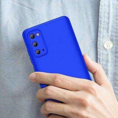 """DVIEJŲ DALIŲ PLASTIKINIS DĖKLAS APSAUGANTIS PRIEKĮ IR GALĄ """"GKK 360"""" Samsung Galaxy S20 mėlynas (ctz003) UCS003 6"""