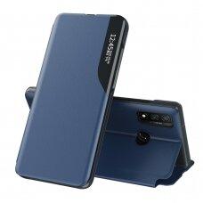 Atverčiamas dėklas Eco Leather View Case elegant Huawei P Smart 2021 tamsiai mėlynas