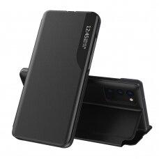 Atverčiamas dėklas Eco Leather View Case elegant Samsung Galaxy A02s Juodas