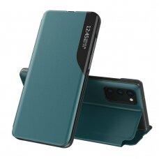 Atverčiamas dėklas Eco Leather View Case elegant  Samsung Galaxy A02s Tamsiai žalias