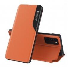 Atverčiamas dėklas Eco Leather View Case elegant Samsung Galaxy A02s Oranžinis