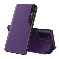 Atverčiamas dėklas Eco Leather View Case elegant Samsung Galaxy A02s Violetinis