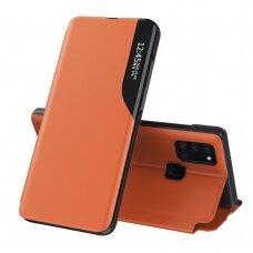 Atverčiamas Dėklas Eco Leather View Case Samsung Galaxy A21S Oranžinis