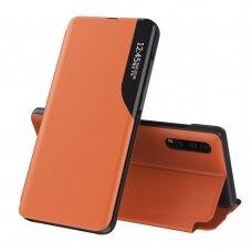 Atverčiamas dėklas Eco Leather View skirta Samsung Galaxy A50 Oranžinis