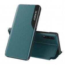 Eco Leather View Case dėklas skirtas Samsung Galaxy A70 žalias