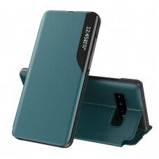 Atverčiamas Dėklas Eco Leather View Case Samsung Galaxy S10+ (S10 Plus) Žalias