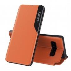 Atverčiamas Dėklas Eco Leather View Case Samsung Galaxy S10+ (S10 Plus) Oranžinis