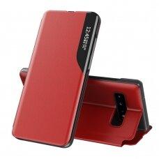 Atverčiamas Dėklas Eco Leather View Case Samsung Galaxy S10+ (S10 Plus) Raudonas